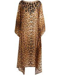 Roberto Cavalli Kaftan mit Paillettenverzierung und Heritage Jaguar Print - Braun