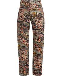 Roberto Cavalli Jeans mit Animalier Camouflage Print - Grün