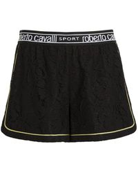 Roberto Cavalli Lace Track Shorts - Black