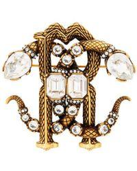 Roberto Cavalli Mirror Snake Brosche mit Kristallen - Weiß