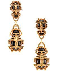 Roberto Cavalli Scarab Beetle Drop Earrings - Metallic