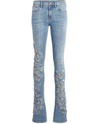 Roberto Cavalli Skinny Jeans mit Eulen-Stickerei - Blau