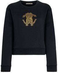 Roberto Cavalli Mirror Snake Print Sweatshirt - Black