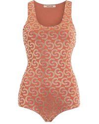 "Roberto Cavalli ""double C Stud Embellished Bodysuit - Brown"