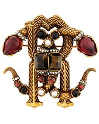 Roberto Cavalli Mirror Snake Crystal Brooch - Metallic