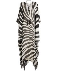Roberto Cavalli Zebra Avantgarde Print Kaftan - Black
