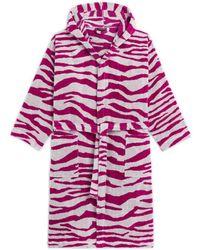 Roberto Cavalli Zebra Patterned Hooded Bathrobe - Pink