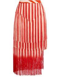 Roberto Cavalli Zebra Avantgarde Fringe Skirt - Red