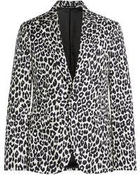 Roberto Cavalli Snow Leopard Print Jacket - Black