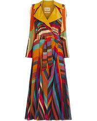 Roberto Cavalli Chameleon Rug Print Silk Trench Coat - Yellow