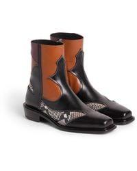 Roberto Cavalli Python Effect Cowboy Boots - Brown