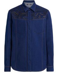 Roberto Cavalli Denim-Shirt mit Bandana-Stickerei - Blau