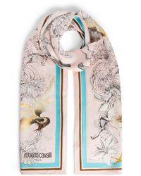 Roberto Cavalli Hybrid Animals Print Silk Scarf - Pink
