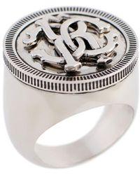 Roberto Cavalli Rc Monogram Chevalier Ring - Metallic