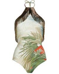 Roberto Cavalli Le Monde Vegetale Print Swimsuit - Green