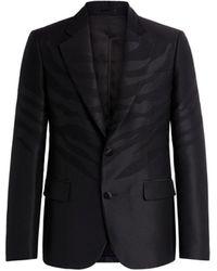 Roberto Cavalli Tiger-jacquard Single-breasted Blazer - Black
