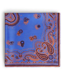 Roberto Cavalli Bandana Print Scarf - Blue
