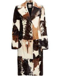 Roberto Cavalli Kalbsledermantel im patchwork-look - Mehrfarbig
