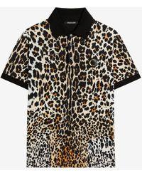 Roberto Cavalli Queen Of Sicily-print Cotton Polo Shirt - Black