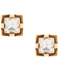 Roberto Cavalli Crystal Stud Earrings - Metallic
