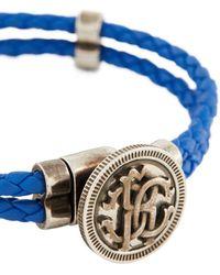 Roberto Cavalli Braided Leather Bracelet - Blue