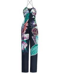 Roberto Cavalli Exotic Flora Print Silk Jumpsuit - Blue