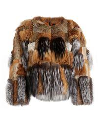 Roberto Cavalli Patchwork Fur Coat - Brown