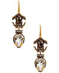 Roberto Cavalli Mirror Snake Drop Earrings - Brown