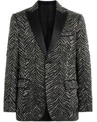 Roberto Cavalli Zebra Chevron On Prince Of Wales Jacket - Black