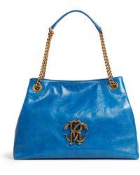 Roberto Cavalli Mirror Snake Schultertasche - Blau