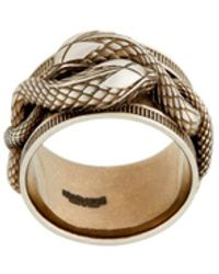 Roberto Cavalli Interlocking Snake Ring - Metallic