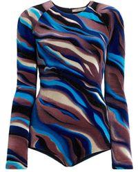 Roberto Cavalli Sistine Chapel Print Velvet Bodysuit - Blue
