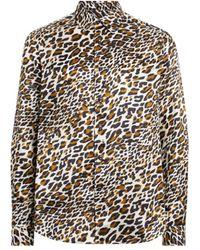 Roberto Cavalli Hemd mit Spiky Leopard Print - Braun