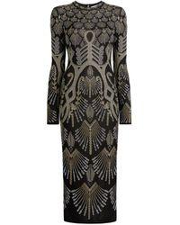 Roberto Cavalli Regimental Deco Jacquard-knit Dress - Black