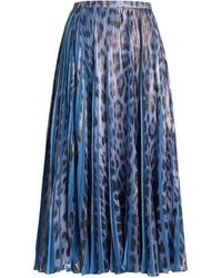 Roberto Cavalli Heritage Jaguar Print Pleated Skirt - Blue