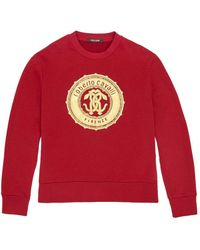 Roberto Cavalli Mirror Snake Sweater mit Folien-Logo - Rot