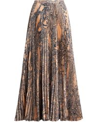 Roberto Cavalli Henna Print Pleated Skirt - Brown