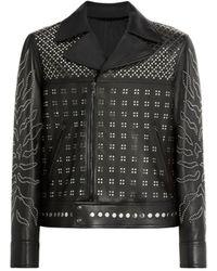 Roberto Cavalli Studded Leather Jacket - Black