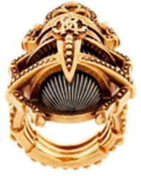Roberto Cavalli Scarab Beetle Oversized Ring - Metallic