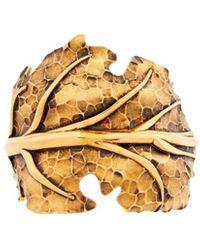 Roberto Cavalli Hammered Leaf Cuff - Metallic