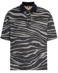 Roberto Cavalli Zebra And Check Print Polo Shirt - Black