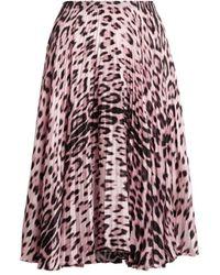 Roberto Cavalli Heritage Jaguar Print Pleated Skirt - Pink