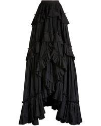 Roberto Cavalli Rock mit asymmetrischen Rüschen - Schwarz
