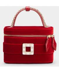 Roger Vivier Mikro Tasche Vanity mit Strass Schnalle aus Samt - Rot