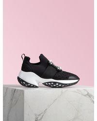 Roger Vivier Sneakers Viv' Run Boucle Strass en Tissu Technique - Noir