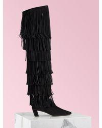 Roger Vivier Belle Vivier Over The Knee Fringe Boots - Black