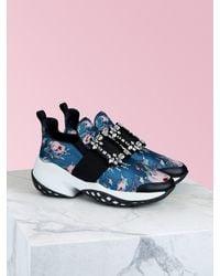 Roger Vivier Viv Run Strass Buckle Floral-print Sneakers - Blue