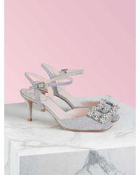 Roger Vivier Flower Strass Buckle Sandals - Metallic