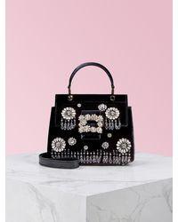 Roger Vivier Viv' Cabas Grande Soirée Flower Strass Buckle Mini Bag - Black