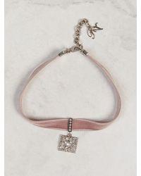 Roger Vivier Bouquet Strass Buckle Choker - Pink